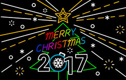 Merry Christmas and Happy New Year Neon Background. Happy New Year and Merry Christmas Neon Background vector illustration