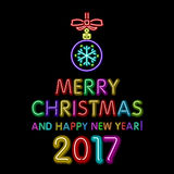 Merry Christmas and happy new year 2017 neon, light color toy. Art royalty free illustration