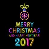 Merry Christmas and happy new year 2017 neon, light color toy. Art vector illustration