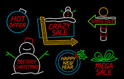 Merry Christmas and Happy New Year Neon Sign Royalty Free Stock Images