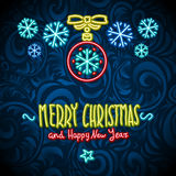Merry christmas and happy new year Neon Sign.  background Stock Photos