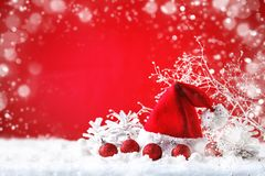 Merry Christmas and Happy New Year. A New Year`s background with New Year decorations, Background with copy space. Stock Images