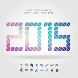 Merry christmas and happy new year 2015 on number concept with p. Arty icon vector Royalty Free Stock Photography