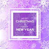 Merry Christmas And Happy New Year Origami snowflake greeting card. Merry Christmas And Happy New Year greeting card on purple background. Origami snowflake Stock Images