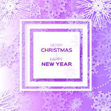 Merry Christmas And Happy New Year Origami snowflake greeting card. Merry Christmas And Happy New Year greeting card on purple background. Origami snowflake Royalty Free Stock Photography