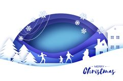 Merry Christmas and Happy New Year. Origami Winter Snowball game. Landscape. Village with blue sky. Entertainment in royalty free illustration