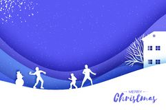 Merry Christmas and Happy New Year. Origami Winter Snowball game. Landscape. Village with blue sky. Entertainment in stock illustration