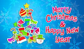 Merry Christmas Happy New Year Ornament Art Paper Blue Background. Digital art Stock Image