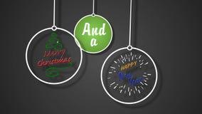 Merry Christmas Happy New Year Ornaments on Strings 4K Loop