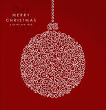 Merry christmas happy new year outline bauble deco. Merry christmas and happy new year art deco bauble decoration made in outline monogram style with simple xmas Royalty Free Stock Photography
