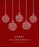 Merry christmas happy new year outline bauble deco. Merry christmas and happy new year art deco bauble decoration set in outline monogram style with simple xmas Royalty Free Stock Photography