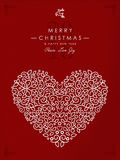 Merry christmas happy new year outline heart deco Royalty Free Stock Photo