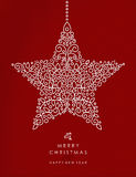 Merry christmas happy new year outline star deco. Merry christmas and happy new year art deco star decoration shape made in outline monogram style with simple Royalty Free Stock Photo