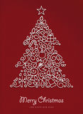 Merry christmas happy new year outline xmas tree Royalty Free Stock Image