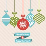 Merry christmas and happy new year. Over pink background vector illustration stock illustration