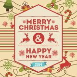 Merry christmas and happy new year. Over pink  background  vector illustration vector illustration
