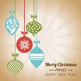 Merry christmas and happy new year. Over vintage background vector illustration stock illustration