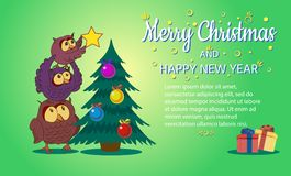 Merry Christmas and happy New Year,The owl family decorates the tree,vector illustration. Royalty Free Stock Photography