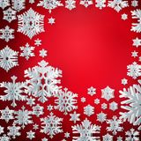Merry Christmas and Happy new year paper snowflakes on red background. EPS 10 stock illustration