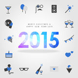 Merry christmas and happy new year 2015 with party icon. Vector stock illustration