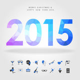 Merry christmas and happy new year 2015 with party icon on white Royalty Free Stock Images