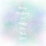 Merry Christmas and happy new year 2017. On pastel spray background royalty free illustration