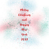 Merry Christmas and happy new year 2017. On pastel spray background stock illustration