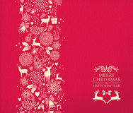 Merry christmas happy new year pattern deer red Royalty Free Stock Photos