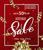 Merry Christmas and Happy New Year pattern of sales banners with Christmas bow with decorations on a red background. Sale concept. Vector illustration Stock Image
