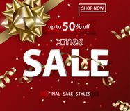 Merry Christmas and Happy New Year pattern of sales banners with Christmas bow with decorations on a red background. Sale concept. Vector illustration Royalty Free Stock Image