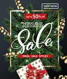Merry Christmas and Happy New Year pattern of sales banners with Christmas branches, Christmas gift with decorations on. Dark background. Sale concept. Vector Royalty Free Stock Photo