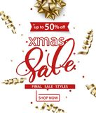 Merry Christmas and Happy New Year pattern of sales banners with Christmas branches, Christmas gift with decorations on. A white background Sale concept. Vector Royalty Free Stock Photos