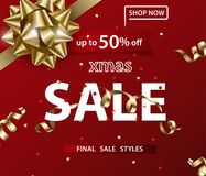 Merry Christmas and Happy New Year pattern of sales banners with Christmas bow. Merry Christmas and Happy New Year pattern of sales banners with Christmas bow Royalty Free Stock Photography
