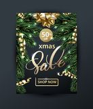 Merry Christmas and Happy New Year pattern of sales banners with Christmas branches, with decorations on dark background. Merry Christmas and Happy New Year Royalty Free Stock Photo