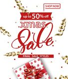 Merry Christmas and Happy New Year pattern of sales banners with Christmas branches, Christmas gift with decorations on. A white background Sale concept. Vector Royalty Free Stock Images