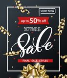 Merry Christmas and Happy New Year pattern of sales banners with Christmas gold bow, Christmas decorations on dark. Background. Sale concept. Vector Royalty Free Stock Photos