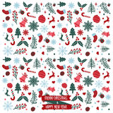 Merry christmas & happy new year pattern Stock Image