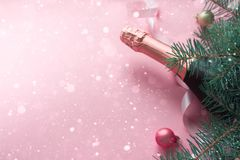 Merry Christmas and Happy New Year. Pink background. Merry Christmas concept. Bottle champange with fir brunches and christmas balls and pink ribbon on pink royalty free stock images