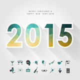 Merry christmas and happy new year 2015 on polygon number concep. T with party icon vector royalty free illustration