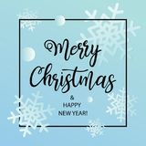 Merry Christmas and Happy New Year postcard with calligraphic text. Vector illustration royalty free illustration