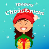 Merry Christmas and Happy New Year postcard. Cute smiling girl in Christmas hat holding gift box in her hands. Vector illustration. Design elements vector illustration