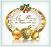 Merry Christmas and Happy New Year 2017. Postcard with a Christmas decoration. Golden design Royalty Free Stock Photos