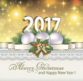 Merry Christmas and Happy New Year 2017. Postcard from 2017 year in Christmas decorations Royalty Free Stock Photos