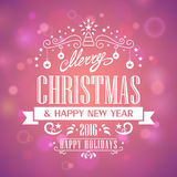 Merry Christmas and Happy New Year. Postcard Merry Сhristmas and Happy New Year 2016 Stock Images