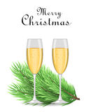 Merry Christmas and Happy New Year postcard. Realistic Christmas tree branch and two glasses of champagne. Usable as a background Royalty Free Stock Image