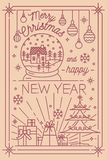 Merry Christmas and Happy New Year postcard template with holiday winter decorations drawn in line art style - Royalty Free Stock Photos
