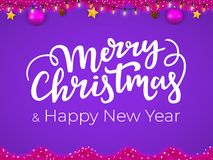 Merry Christmas and Happy New Year postcard in trendy pink and purple colors.  vector illustration