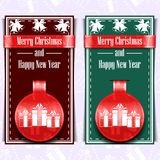 Merry Christmas and Happy New Year postcard royalty free illustration