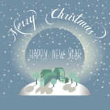 Merry Christmas and Happy new year postcard. Vector postcard of Christmas and Happy new year. Miniature houses on a snowy hill. The inscription / lettering Royalty Free Stock Image