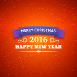 Merry Christmas and Happy New Year 2016 poster. Merry Christmas and Happy New Year 2016. Abstract Vector Background with Typography for Christmas. Party poster Stock Photography
